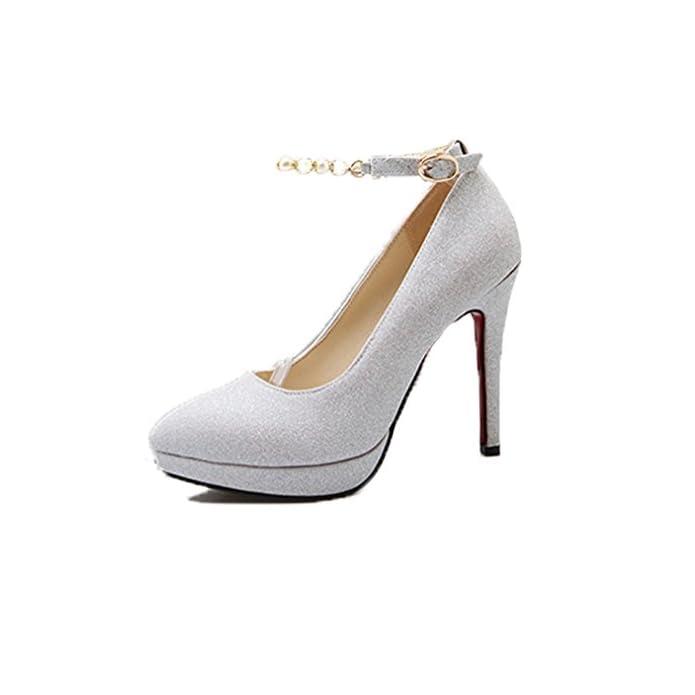 Hbdlh scarpe Da Donna la Primavera E L'estate D'argento Vestito Sposa Di Scarpe Sexy Uno Spessore Dodici Centimetri Super Con Tacchi Alti A Punta