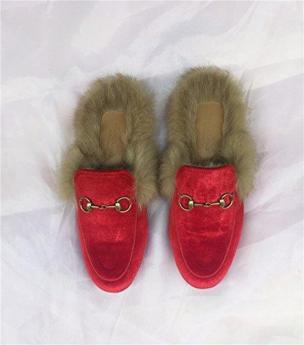 Caduta fankou piatto scarpe donna pigri con bassa pantofole ,36, Rosso