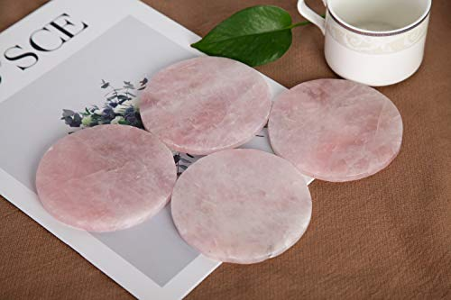 Coasters Cup Mat - JIC Gem Natural Sliced Rose quartz Crystal Coasters Cup Mat Set of 4 about 8-10 cm Gemstone Geode Decor Slices Beverage Coasters with Rubber Bumper Gifts