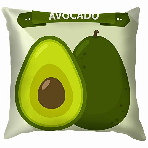 Icon Avocado Fruit Flat Food and Drink Funny Square Throw Pillow Cases Cushion Cover for Bedroom Living Room Decorative 20X20 Inch