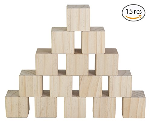 Photo Cube Puzzle - Set of 15 Large Wooden Blocks - 2 Inch Natural Wood Square Cubes - with Sanded Smooth Surface for Photo Blocks, Crafts, Art Supplies, Puzzle Projects and More - Great Toys for Kids & Child