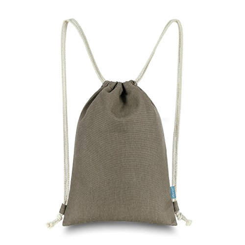 Miomao Drawstring Backpack Gym Sack Pack Solid Cinch Pack Canvas Sinch Sack Sport String Bag with Pocket Gift Beach Bag For Men & Women 13 X 18 Inches Coffee ()