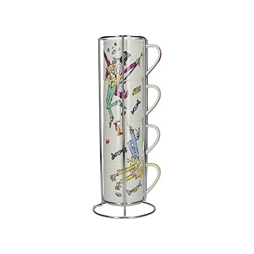 Roald Dahl Charlie and The Chocolate Factory Stacking Fine China Mugs with Metal Display Stand (5-Piece Set) (Creative Stand)