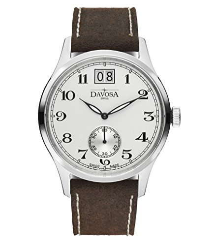 Davosa Swiss Heritage Big-date 16247816 Men Wrist Watch Genuine Leather, White