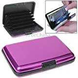 Security Aluminium Credit Card Wallet Card Pack Holder Case Box Protector with 6 Slots (Purple)