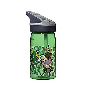 Laken Tritan Kids Leak Free Sports Water Bottle with Jannu Straw Cap, 15 Oz, Kukuxumusu Green - Cow