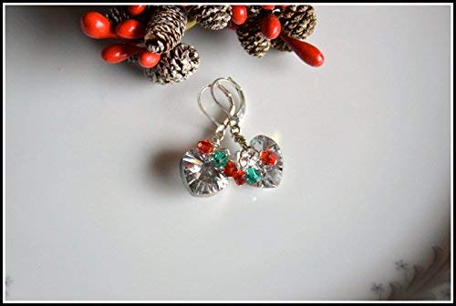 Crystal Heart Swarovski Sterling Silver Christmas Earrings