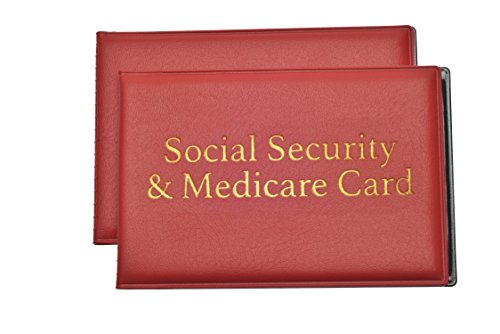Social Security And Medicare Card Protector With 2 Clear Card Sleeves   Driver License  Health Insurance  Id  Credit Card Holders  Red  2 Pack