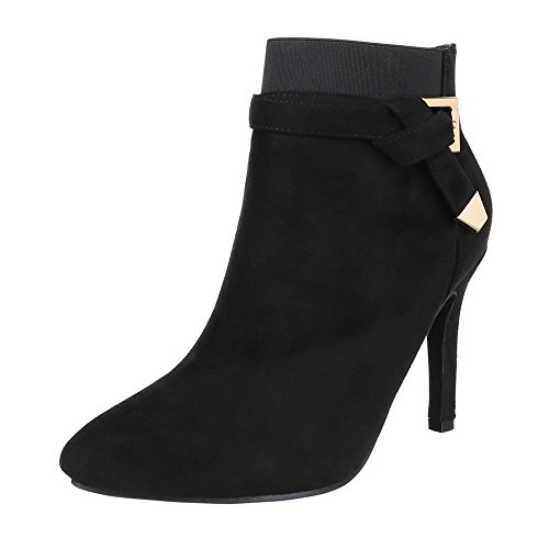 Stiefeletten Ital Heels Reißverschluss Design Schwarz Schuhe Heel Stilettoabsatz Pfennig High Stiefeletten Damen High Schlupfstiefel ZtfxWwtPn