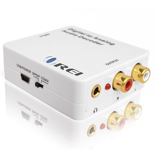 Orei DA34 Digital to Analog Audio Decoder SPDIF/Coaxial 5.1-Channel Input to RCA L/R/3.5mm Headphone Output ()