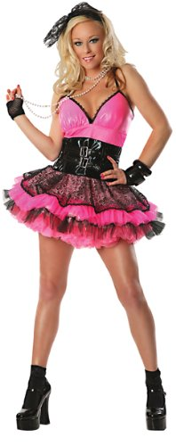Delicious Totally 80's Costume, Pink/Black, Medium (Fancy Dress 80s Style)
