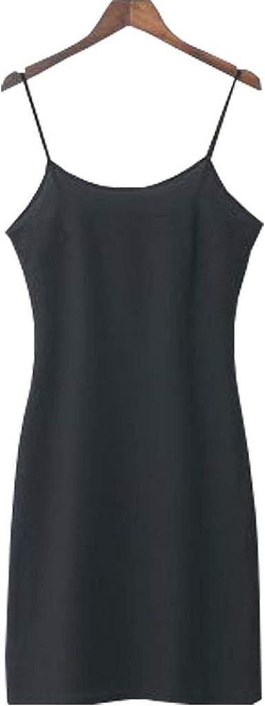 Womens Sleeveless Scoop Neck Full slip Midi Dress Liner Dress Petticoat Chemise