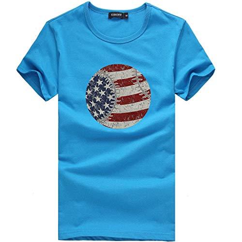Realdo Womens Fashion T-Shirt Circle American Flag Print Short Sleeve O-Neck Top Blouse Sky Blue