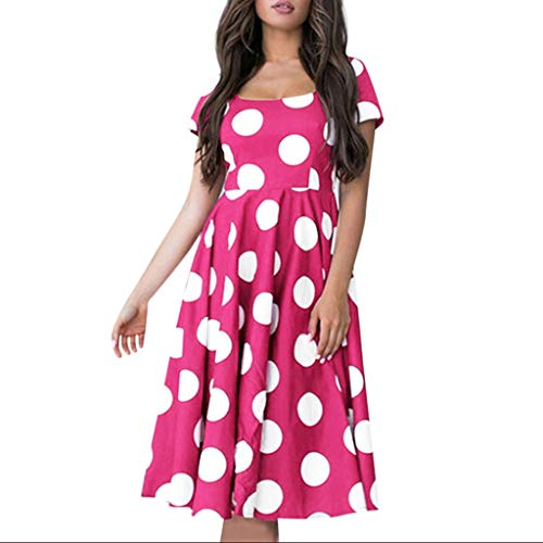 Pervobs Women's Summer O-Neck Cute Short Sleeve Polka Dot High Waist Ruffled Puffy Swing Casual Party Dress Vestido(US: 4, Hot Pink) ()