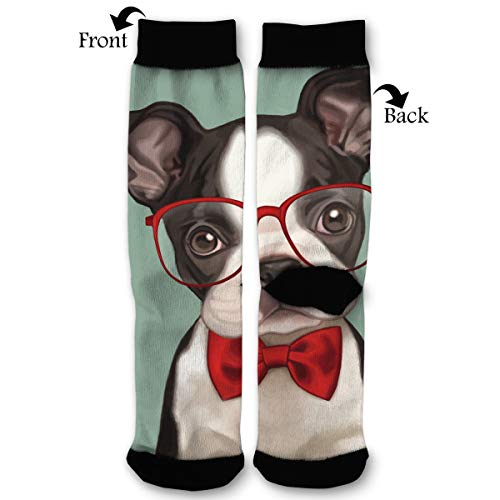 NGFF Fashion Wear Glasses Boston Terrier Men Women Casual Crazy Funny Athletic Sport Colorful Fancy Novelty Graphic Crew Tube Socks]()