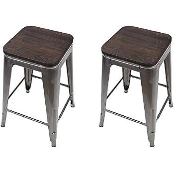 Amazon Com Gia Gunmetal 24 Quot Metal Stool With Wooden Seat
