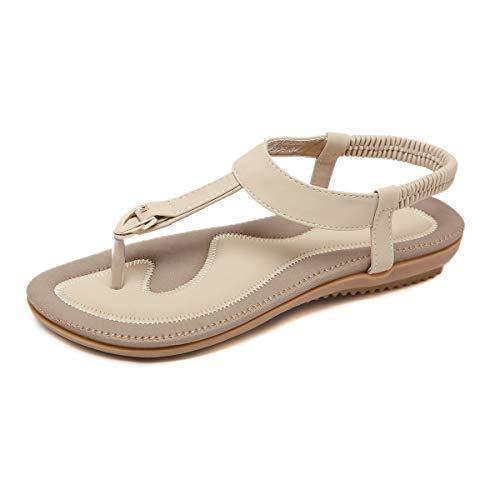 ZOEREA Ladies Sandals Peep Toe T-Strap Bohemia Women Sandals Flats Flip Flops Beach Holiday (7.5 B(M) US, Clasp Beige)