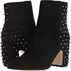 Stand out in all the right ways with these edgy-chic Sam Edelman® Heath booties. Heeled ankle boots feature a suede upper with spike stud detailing along back heel. Inside zipper closure. Pointed-toe silhouette. Synthetic lining. Cushioned, ...