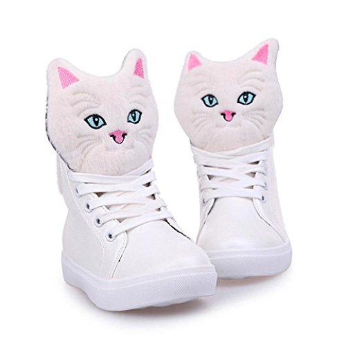 Boots up Walking Sole Ankle Womens Casual Cat Sneaker Flat Cartoon Saingace Shoe White Lace Rubber FwXtaq