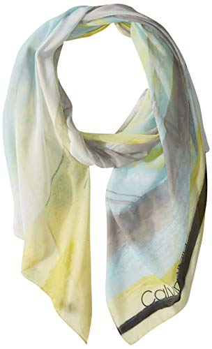 Calvin Klein Women's Abstract Cloud Chiffon Scarf, Lime One Size