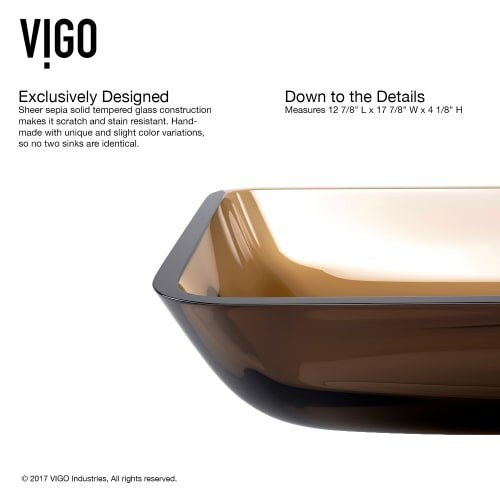 VIGO VG07087 Rectangular Sheer Sepia Glass Vessel Bathroom Sink by VIGO (Image #1)