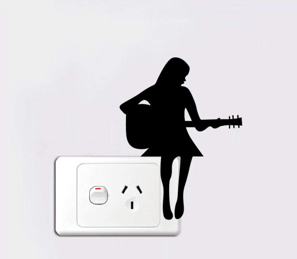 Etiqueta engomada del interruptor Chica tocando la guitarra ...