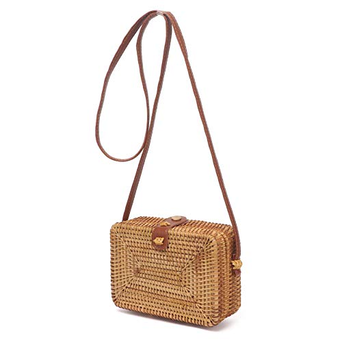Handwoven Rattan Bags for Women – Handmade Wicker Woven Purse Chic Shoulder Handbag Circle Boho Bag