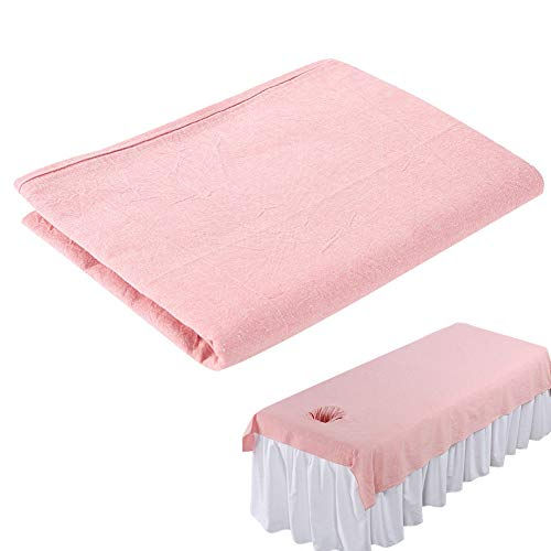 Beauty Massage Bed Sheets, Salon Massage SPA Couch Soft Cotton Bed Cover Protector with Face Breath Hole (Pink)