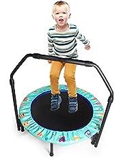 36 inç Çocuk Trambolini Ayarlanabilir Tutamaklı ve Güvenlik Pedli Kapaklı Küçük Trambolin Mini Katlanabilir Bungee Rebounder Trambolin İç Mekan/Dış Mekan