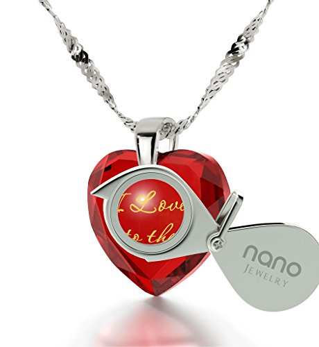 925 Sterling Silver Heart Necklace I Love You to The Moon and Back Pendant 24k Gold Inscribed Red CZ, 18'' by Nano Jewelry (Image #1)