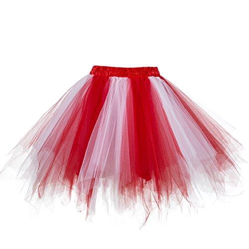 Carnaval Ellames Rouge en tulle Jupon blanc vintage Jupe 50 Petticoat ballet annes tutu qSqOwUz6