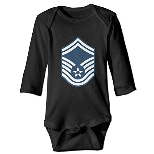 Air Force Master Sergeant 1st SGT Diamond Rank Infant Classical Long Sleeved Jumpsuit Cute Toddler Onesie Black