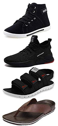 Maddy Men's Black, Brown and Blue Synthetic Sneaker, Loafer, Slipper & Sandal in Various Sizes Combo (Numeric_9)
