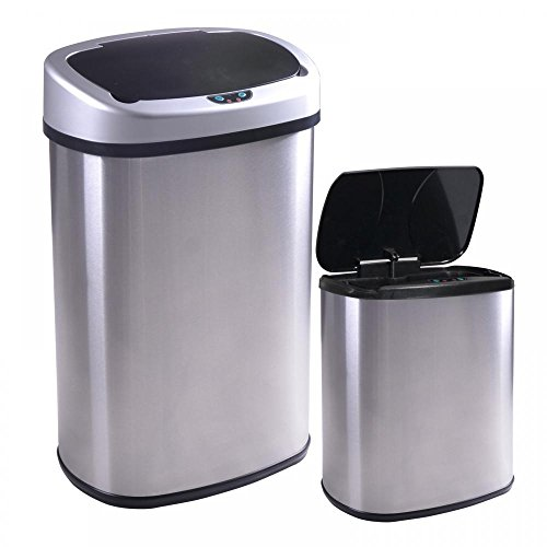 [Eight24hours New 13 and 2.4 Gallon Touch-Free Sensor Automatic Stainless-Steel Trash Can] (Recycle Bin Costume)