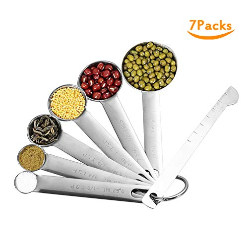 Measuring Spoons Measuring Stick Set Stainless Steel - 7 Pieces Kitchen Aid Metal Spoons includes Teaspoon and Tablespoon Engraved with Leveler and Ring Holder, Measuring Liquid and Dry Ingredients