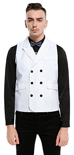 Whatlees Mens Solid Sleeveless Double Breasted Strips Office Party Wedding Slim Fit Formal Vest With Belt B736-White-L