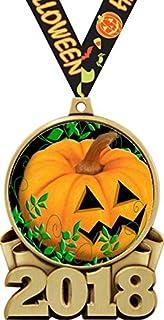amazon com 2018 halloween medals 3 gold halloween pumpkin medal