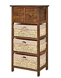 ts-ideen Cómoda Estilo Shabby Vintage de Aspecto Usado, Color marrón, estantería para Armario, baño, Pasillo, 82 cm de Alto