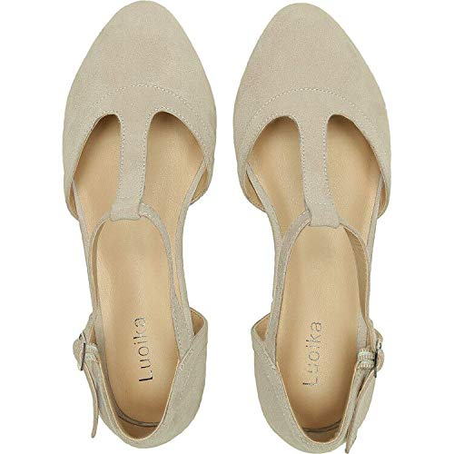 Luoika Women's Wide Width Flat Sandals - Flexible Buckle T-Strap Pointy Toe Cozy Summer Shoes.(181147,Beige,12) (Best Shoes For Plus Size)