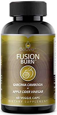 Fusion Burn Garcinia Cambogia with Apple Cider Vinegar Weight Loss Pills for Women and Men - Thermogenic Fat Burner Supplement for Energy, Focus, and Endurance - 60 Veggie Caps