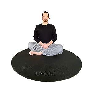 SCHRINER Pro Meditation Mat – 4′ x 8mm – Premium Thick Non Slip Round Exercise Mat