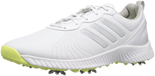 adidas Women's W Response Bounce Golf Shoe, FTWR White/Silver met./semi Frozen Yellow Fabric, 9.5 Medium US