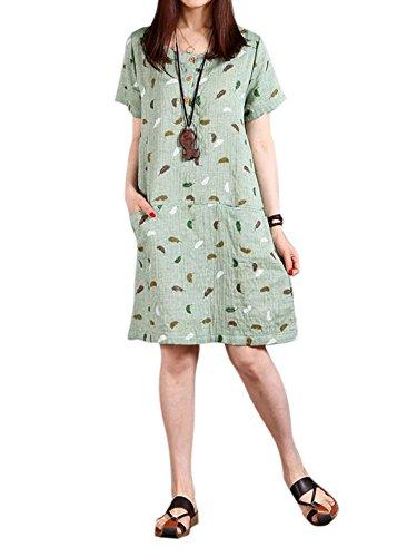 Femmes Occasionnels Plume Robe De Lin De Poche En Coton Droit D'impression Verte
