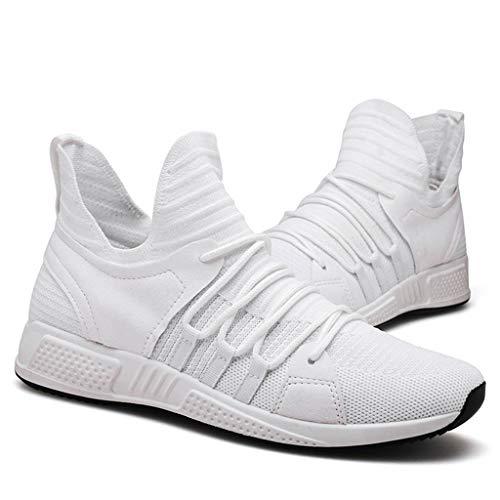 Tejido Hombre Volando Deportivos Para Color Cordones Planos Blanco Zapatos Con Sólido Malla Sólidos 1HwPqw