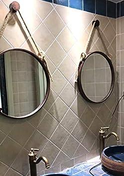 Espejo de vanidad con Marco de Metal ZHAS Espejos para Colgar en la Pared Redondos con Cuerda de c/á/ñamo Ba/ño Ba/ño Espejo cosm/ético C/írculo Espejo de Afeitar Grande