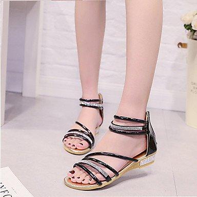 LvYuan Mujer-Tacón Plano Tacón Cuña-Confort-Sandalias-Exterior Vestido Informal-PU-Negro Plata Oro Black