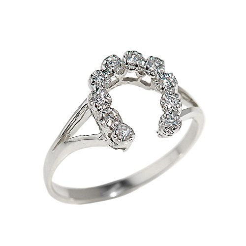 Dainty 925 Sterling Silver CZ-Studded Lucky Horseshoe Ring (Size 8)