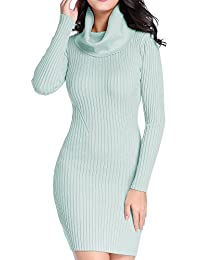 V28 Women Cowl Neck Knit Stretchable Elasticity Long...