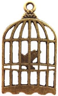 【HARU雑貨】金古美 チャーム 1個/鳥かご 鳥篭 鳥籠 カゴ/アクセサリートップ ハンドメイド