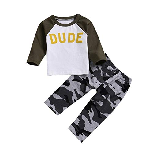 b920884f7 Baby Toddler Boys Kids Clothes Outfit Set Fall Winter New Long Sleeve  Letter Print Tops+ Camouflage Pants 1-4T